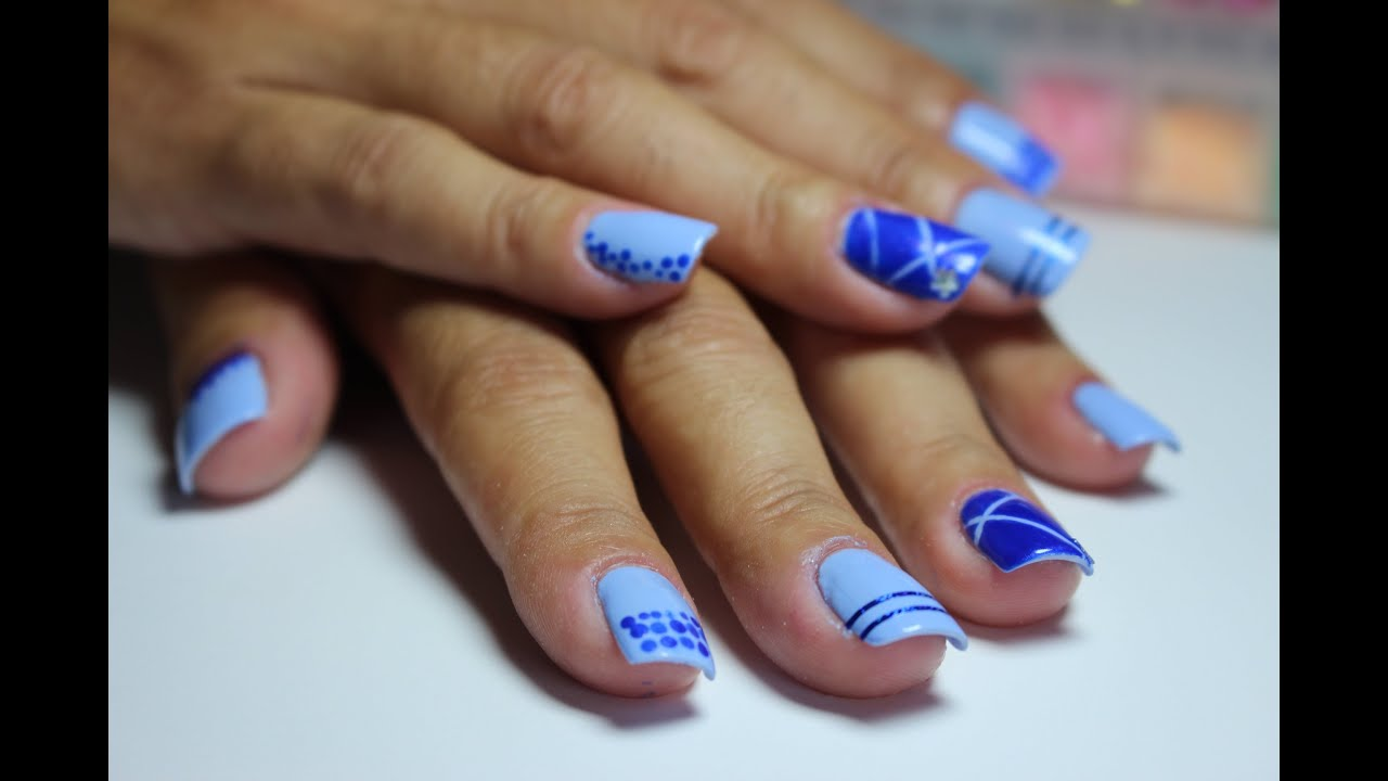 decoraci n de u as en tonos azules nails blue estilo