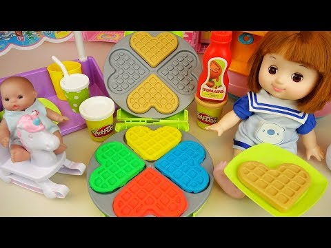 Baby doll and Play doh waffle cooking toys Baby Doli kitchen play
