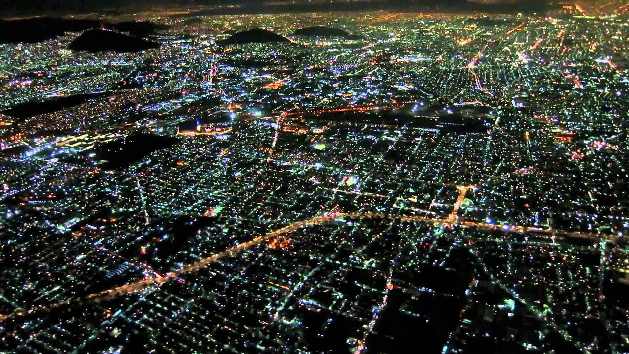 AA2417 DFW-MEX Landing at Night aerial view Mexico City ...
