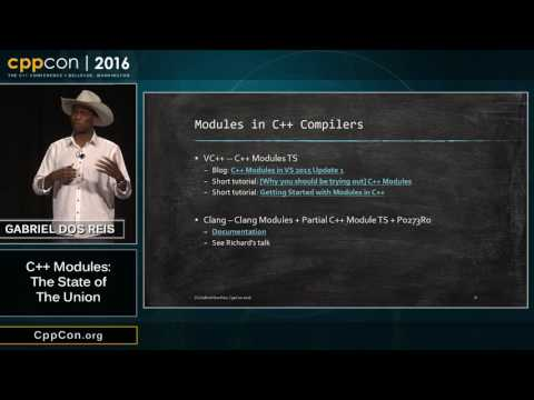 "CppCon 2016: Gabriel Dos Reis ""C++ Modules: The State of The Union"""