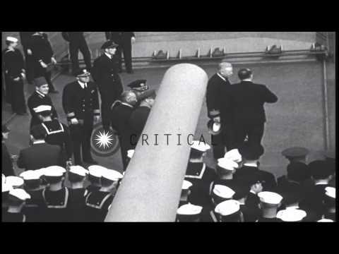 President Roosevelt meets King Farouk aboard USS Quincy underway in the Suez Cana...HD Stock Footage