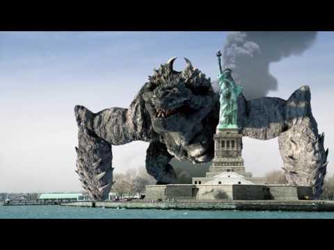 Giant Monster appears over Statue of Liberty. VFX work breakdown CINEMA 4D