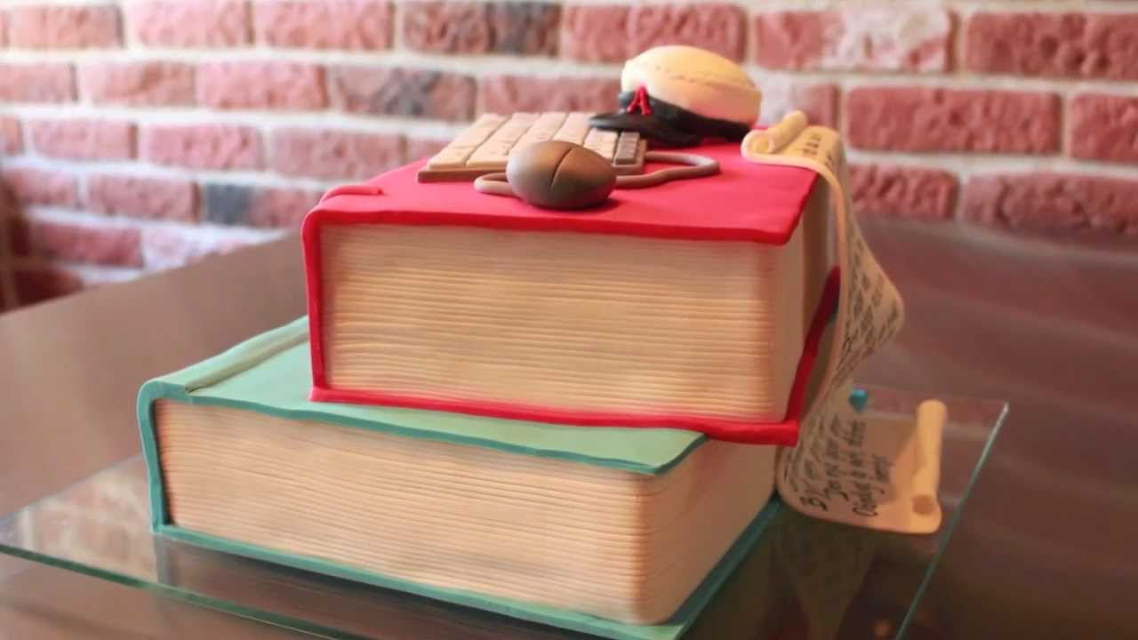 Making A Stack Of Books Cake