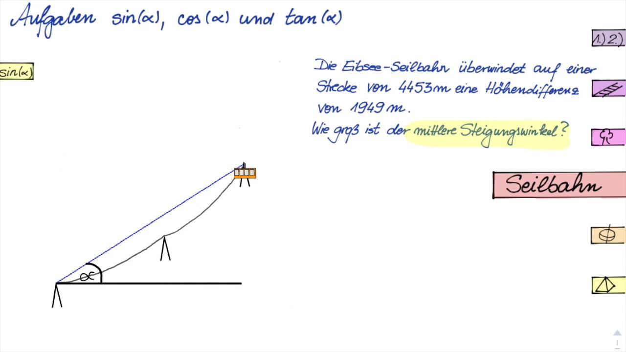 Aufgaben sin cos tan - Seilbahn - YouTube