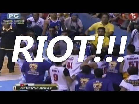 RIOT!!! Jireh Ibanez removes jersey of Matt Ganuelas, JR Quinahan throws ball at his face