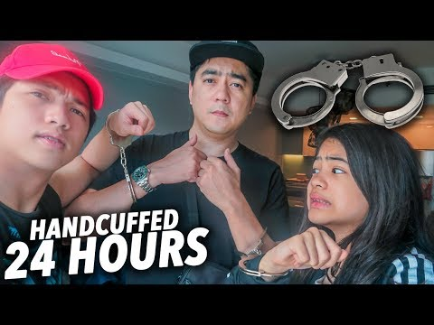 24 HOURS HANDCUFFED TO OUR DAD!! (Fathers Day) | Ranz and NIana