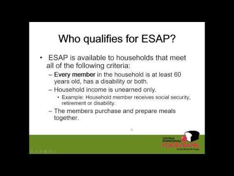 Webinar Recording SNAP ESAP:  Elderly Simplified Application Process