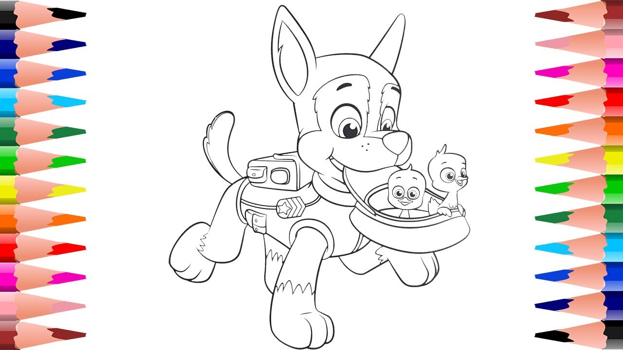 Coloring Chase PAW Patrol - Painting Chase in Paw Patrol Coloring ...