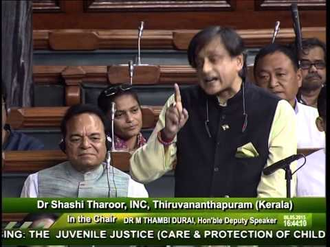 Dr. Shashi Tharoor on the Juvenile Justice Bill, 2015