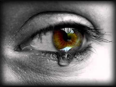 Teardrops falling from eye man