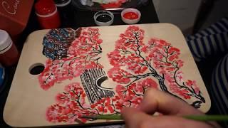 Цветение сакуры в Корее - 1 обзор/разделочная доска