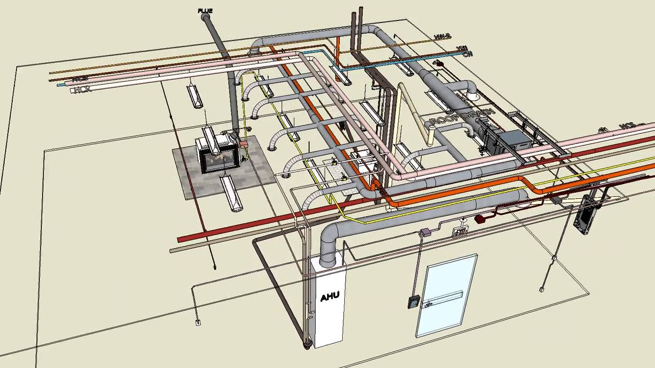 electrical plan vs reflected ceiling plan mechanical & electrical typical 3d sketchup - youtube