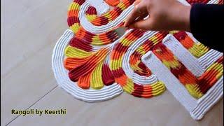 Diwali rangoli design using fork l navratri special rangoli designs with colours l रंगोली रचना l new
