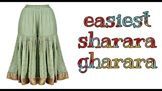 Easiest Sharara /Gharara /Pleated/gathered palazzo[cutting & stitching]
