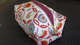 DIY   縫い目が見えない、内布付きスッキリした作り方です。ボックスポーチを作ってみた&作り方