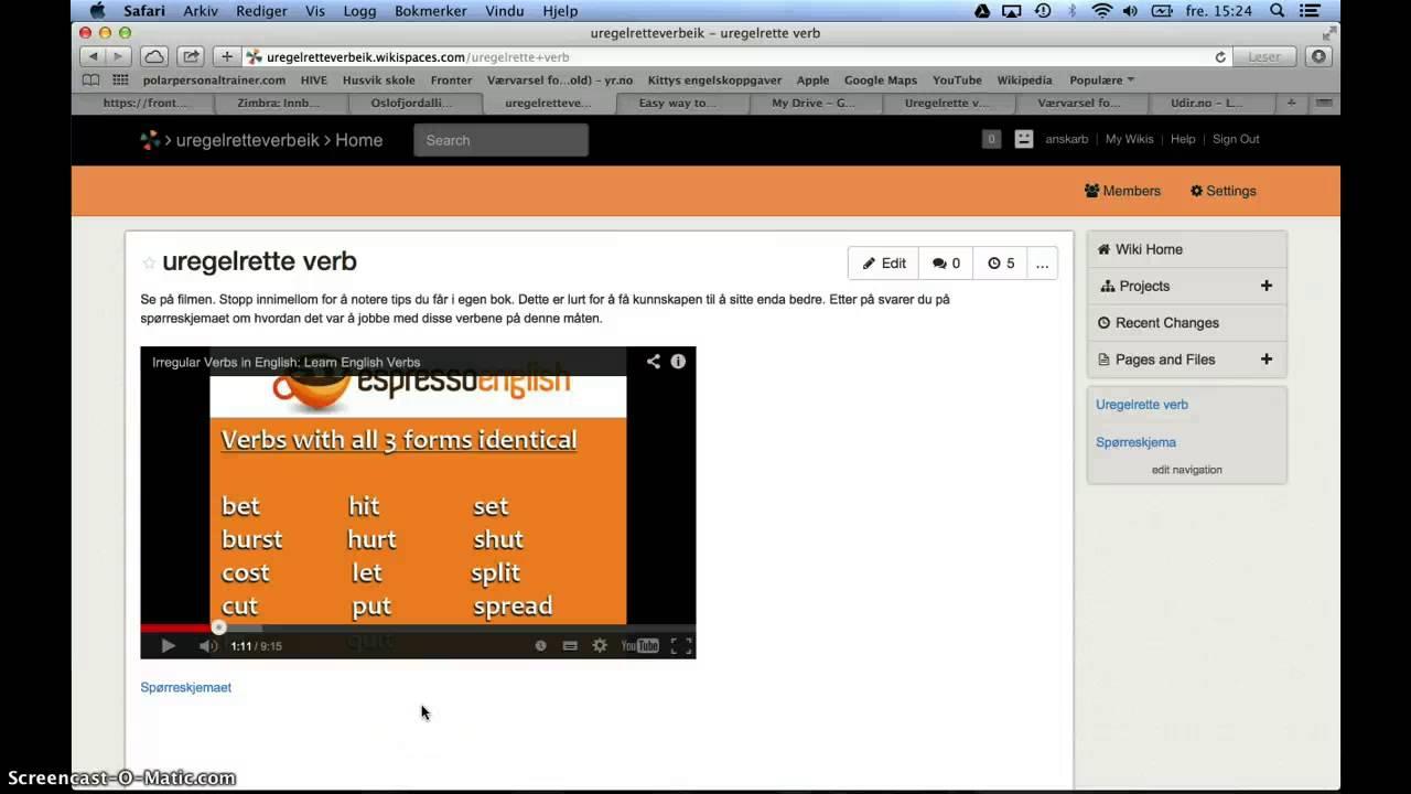 Uregelrette verb på engelsk (omvendt undervisning)