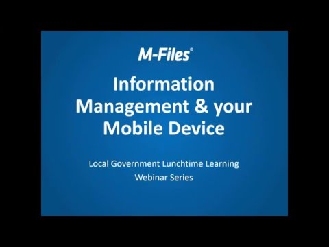 Webinar: Information Management and your Mobile Device for L