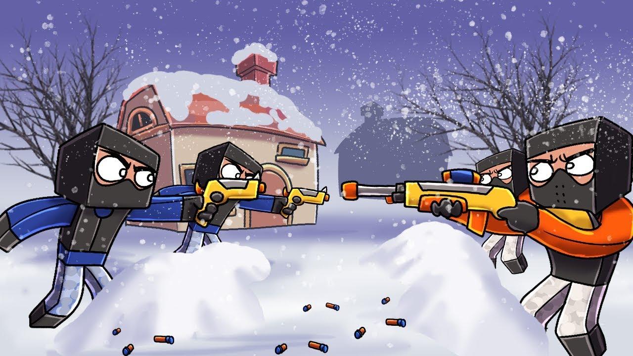Minecraft - NERF WAR: Snow Base Challenge! (Nerf Gun Mod)