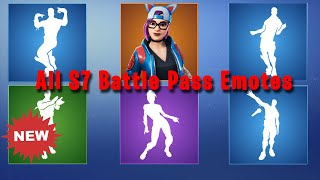 All Season 7 BP Emotes with new Lynx Skin | Fortnite Emotes Compilation!