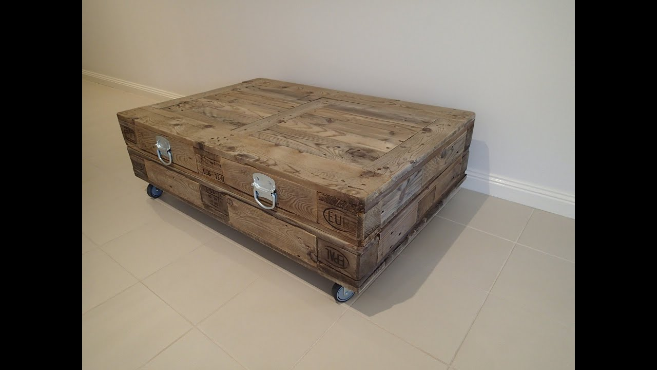 New Industrial Reclaimed Timber Pallet Coffee Table With Storage On Wheels    For Sale   YouTube