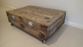 New Industrial Reclaimed Timber Pallet Coffee Table with Storage on wheels - For Sale
