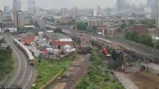 Timelapse of demolition at new railway junction in Bermondsey