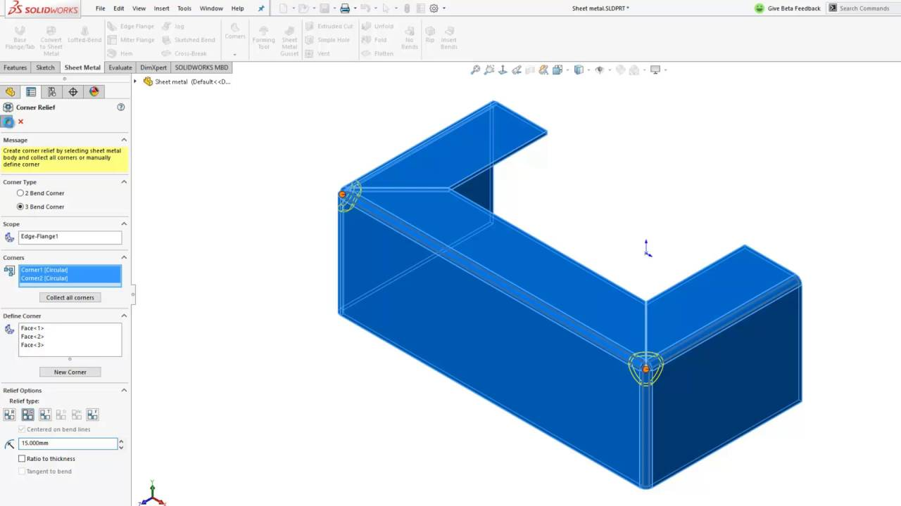 What S New In Solidworks 2017 Sheet Metal 3 Bend Corner