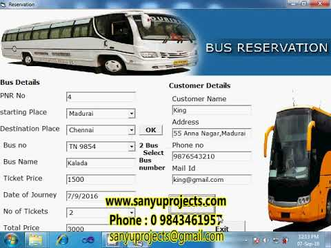 bus reservation system Bus reservation system project is a desktop application which is implemented in java platformfree download bus reservation system java project with source codebus reservation system source code in java, swing, core java and database is file, serialization usedfree download java project tutorial.