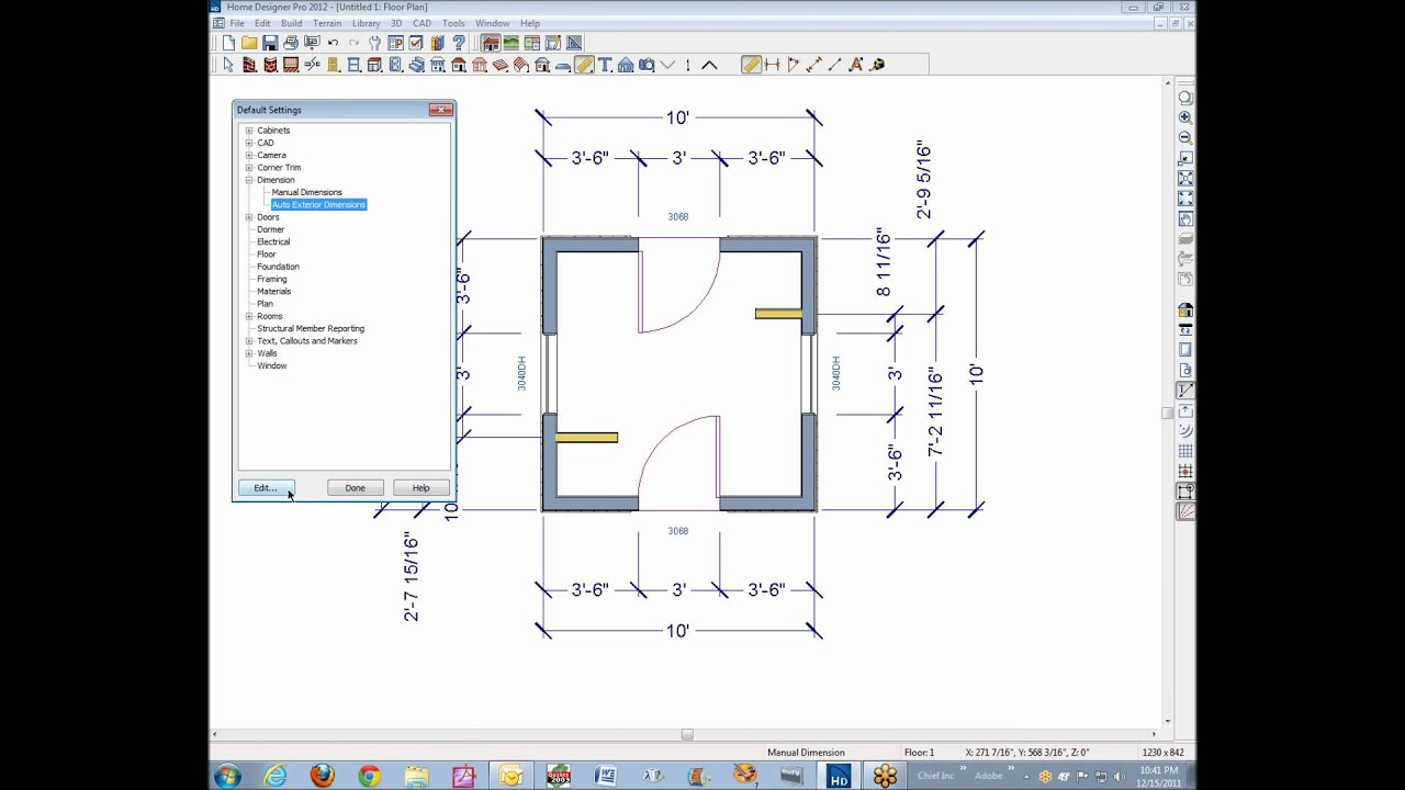 dimension defaults in home designer pro 2012 - youtube