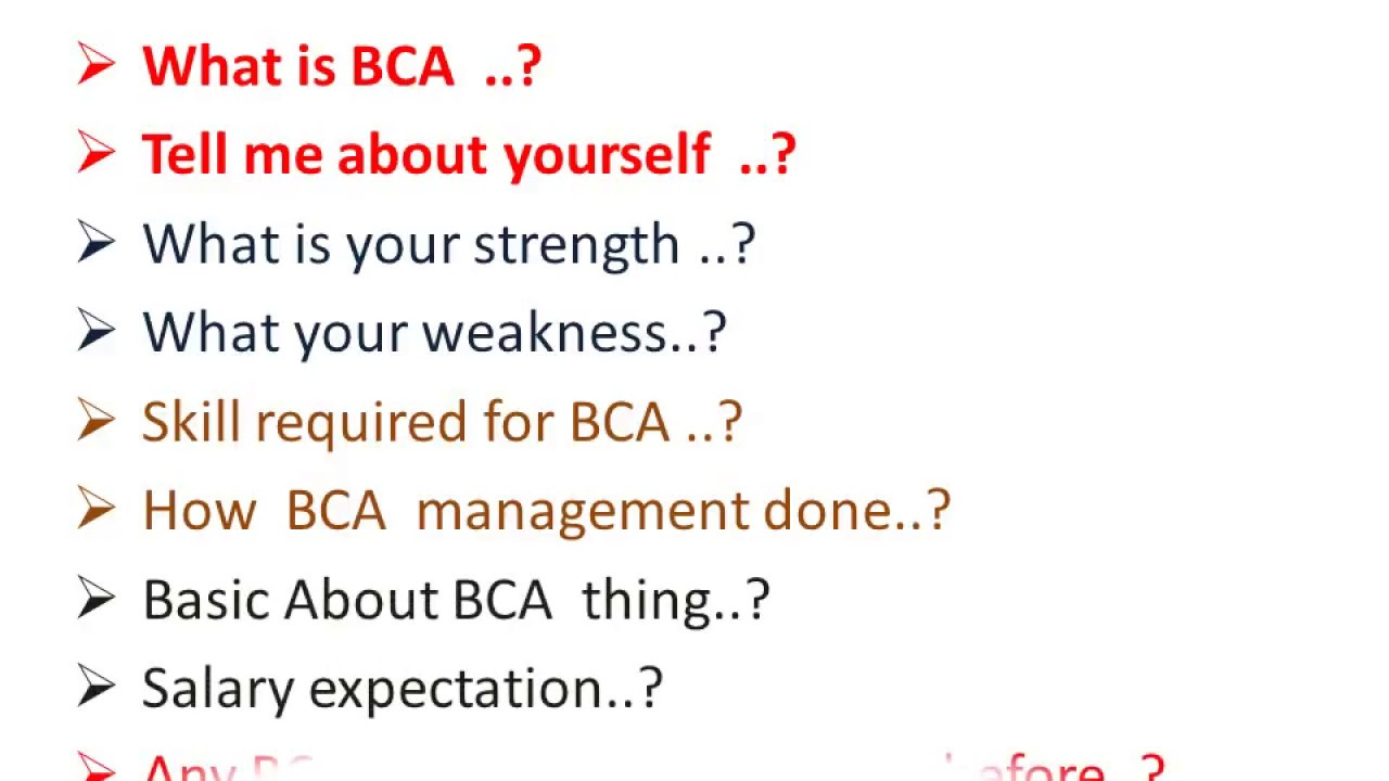 bca interviews  bca interview questions answers for freshers