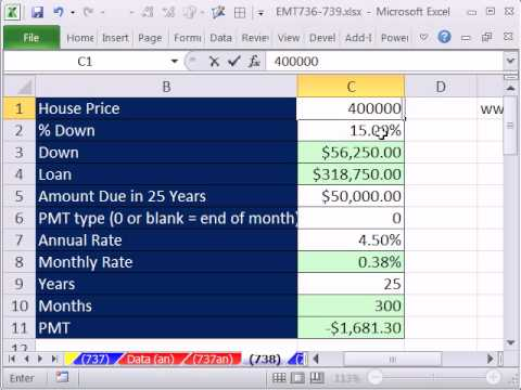 Excel Magic Trick 738: Goal Seek, PMT function for Loan Payment, Cash Flows and Balloon Payment