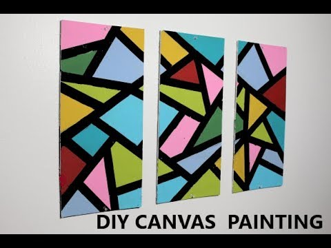 EASY DIY ABSTRACT PAINTING | EASY AFFORDABLE  WALL DECOR IDEAS | COLORFUL CANVAS ROOM DECOR