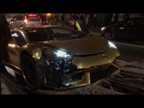CRASH Lamborghini Aventador LP700-4 Roadster In Warsaw