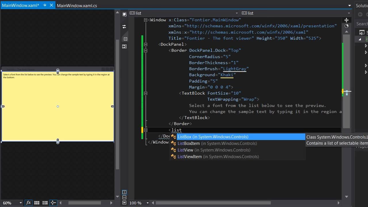WPF XAML Tutorial Font Viewer