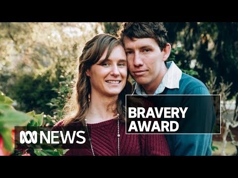 Widow accepts bravery award at her volunteer firefighter husband's funeral   ABC News