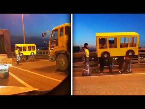 People Disguised as Bus Try to Cross Vehicles-Only Bridge on