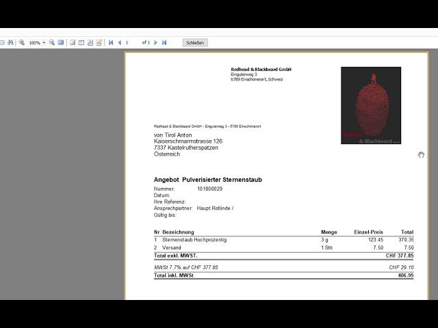 Rechnung mit Produkt aus Artikelstamm per E-Mail versenden