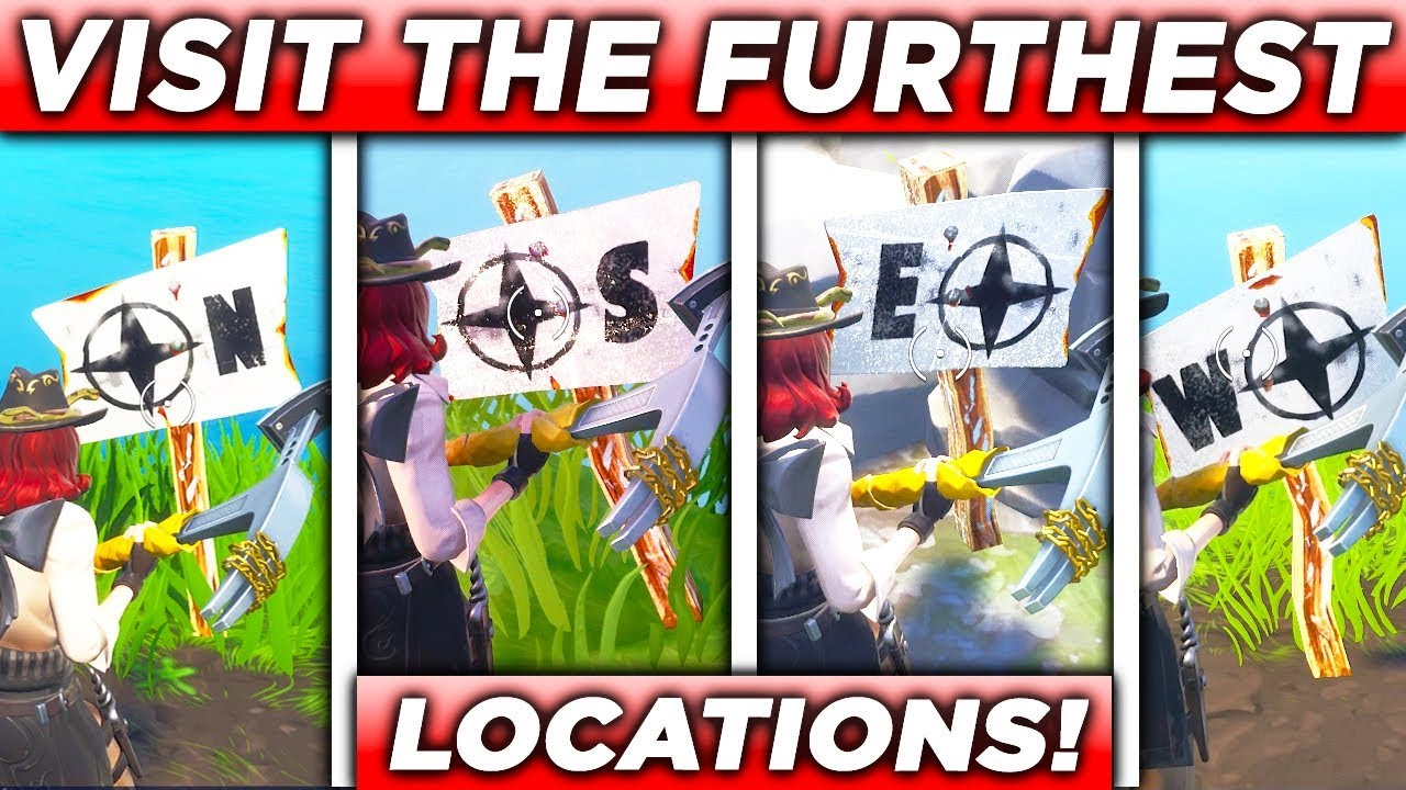 visit the furthest north south east and west points of the island all 4 locations fortnite - fortnite furthest north south east west challenge