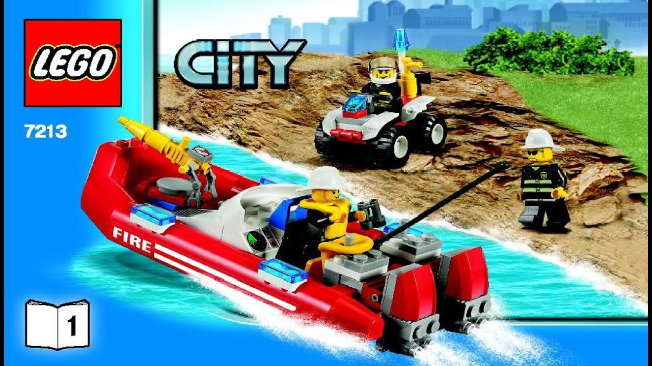7213 Lego Off Road Fire Truck And Fireboat City Fire Instruction