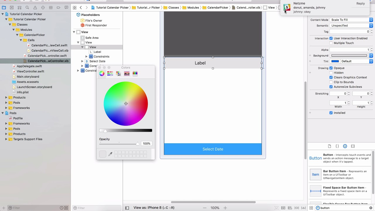 Tutorial Calendar Picker with JTAppleCalendar | Swift 4 | XCode 9 | Part 1  | Install Library and Lay