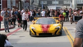 What happens when a Mclaren P1 GTR pulls up to a car show (BURNOUTS)