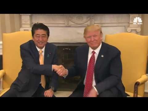 President Trump Long Handshake with Japan Prime Minister   Shinzo Abe NEW