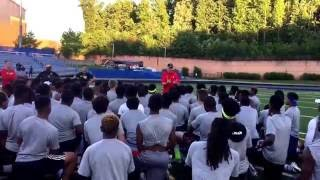 University of Maryland football coach DJ Durkin challenges area high school players at Wise HS camp.