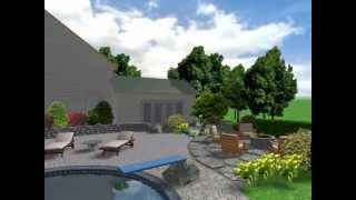 3d Pool Surround With Pergola And Fire Feature.wmv