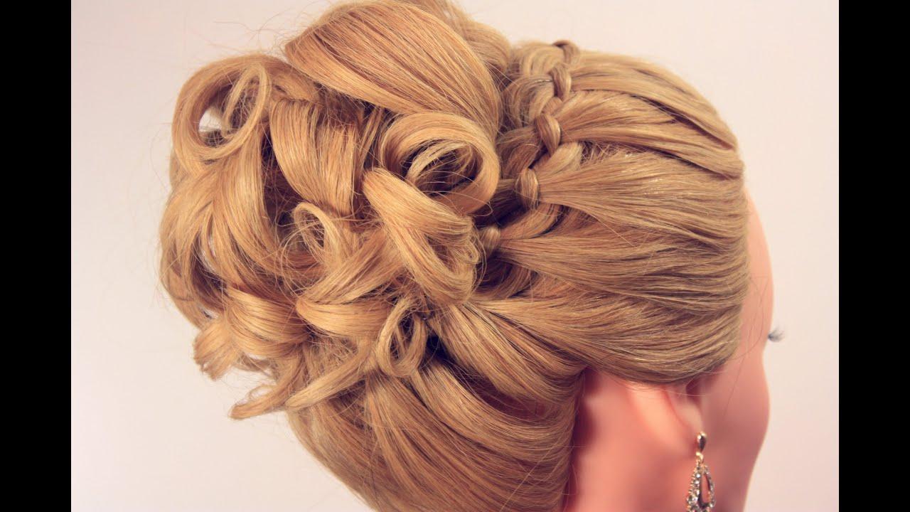 Вечерняя прическа на длинные волосы. Wedding prom ...