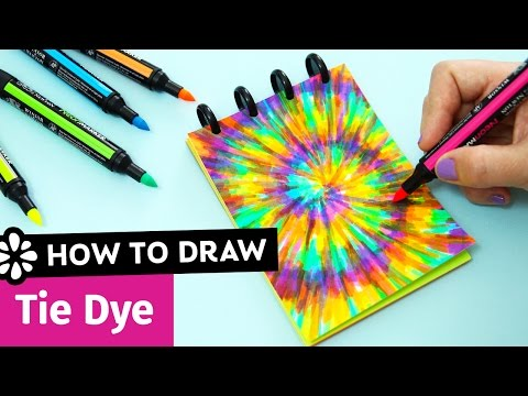 how-to-draw-tie-dye-|-easy-diy-notebook-cover-|-sea-lemon