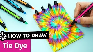 How to Draw Tie Dye | Easy DIY Notebook Cover | Sea Lemon