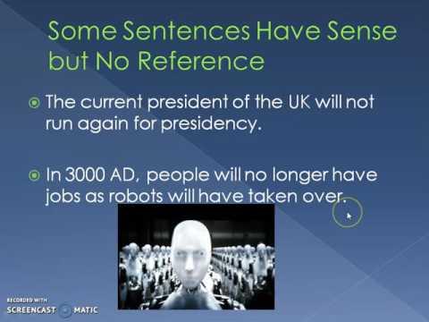 Semantics: Sense and Reference (Deixis)
