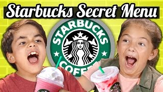 KIDS DRINK THE STARBUCKS SECRET MENU! (Butterbeer, Skittles, Pink Drink) | Kids Vs. Food