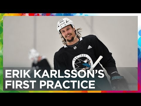 Erik Karlsson's first practice with the San Jose Sharks